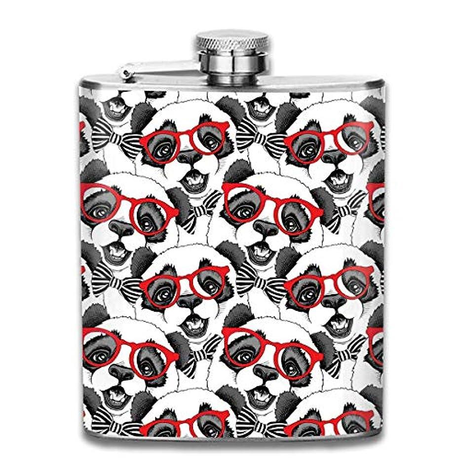 謝る違反打ち上げるおもしろパンダ フラスコ スキットル ヒップフラスコ 7オンス 206ml 高品質ステンレス製 ウイスキー アルコール 清酒 携帯 ボトル