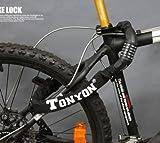 【ダイヤル式チェーンロック】TONYON 自転車・バイク用 盗難防止 ダイヤル5桁 ブラック
