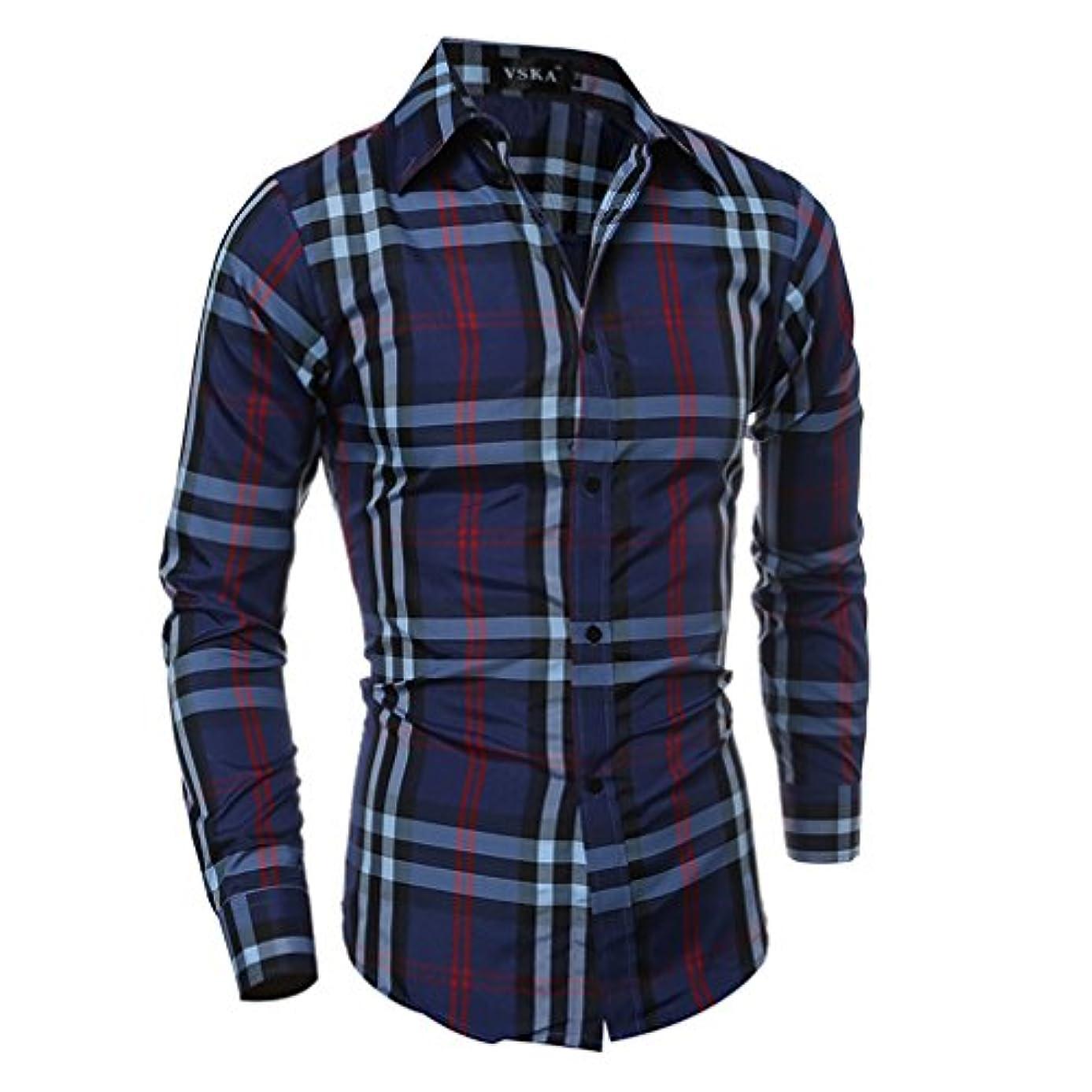 誰かセンブランスベンチHonghu メンズ シャツ 長袖  カジュアル スリム チェック柄 ライトブルー L 1PC