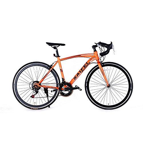 ロードバイク700C 初心者SD-01自転車 14段変速 男女兼用 通勤通学 軽量 ドロップハンドル (オレンジ)