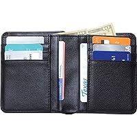 メンズスリムブラック二つ折り財布ソリッドレザークレジットカードお金ホルダー