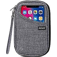 DEFWAY Passport Holder Travel Wallet - Waterproof RFID Blocking Credit Card Organizer Travel Document Bag Ticket Wallet with Strap for Men Women