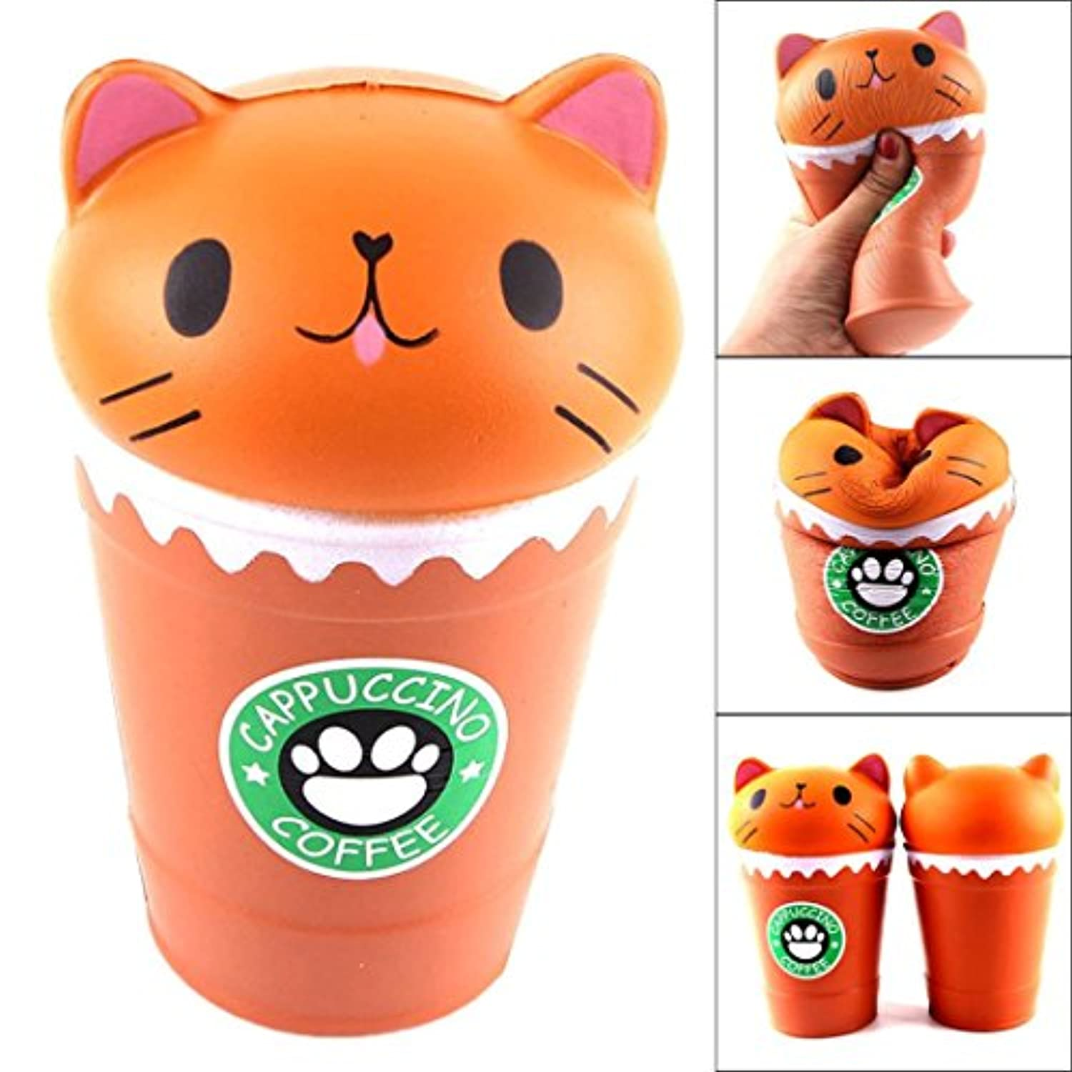 cinhentジャンボSlow RisingカットカプチーノコーヒーカップCat Fun to Squeeze Squishy Toys2colorsホット選択 14*8*8cm オレンジ CHINA-0122