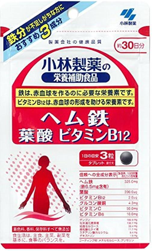 育成タール衣服小林製薬の栄養補助食品 ヘム鉄 葉酸 ビタミンB12 約30日分 90粒