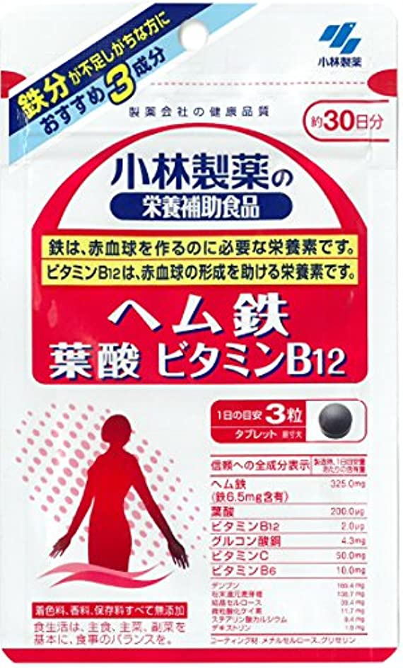 勉強する前提姉妹小林製薬の栄養補助食品 ヘム鉄 葉酸 ビタミンB12 約30日分 90粒