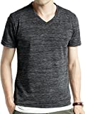 (オークランド) Oakland Vネック フライス カットソー 杢調 ストレッチ 長袖 半袖 ゆる Tシャツ コットン カラー メンズ 【半袖】杢ブラック Lサイズ