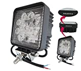 Amilliastyle LED ワークライト 27W LED作業灯 12V 24V対応 広角 防水 常夜灯 LED 集魚灯 2個入り 1年保証(27W-S*2)