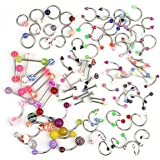 PIXNOR Women's Assorted Acrylic Navel Belly Eyebrow Rings Bars Barbell Jewelry