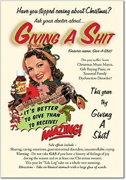 Give a ShitクリスマスユーモアGreeting Card 12 Christmas Card Pack (SKU:B1380)