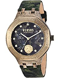 Versus by Versace Men 's ' Laguna City ' Quartzゴールド調andレザーCasual Watch, Color : Green (Model : vsp350217 )