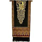 テーブルランナー 象さん 金糸刺繍 ブラック ワイド [220x48.5]ベッドライナーベッドスロー タイ雑貨 アジアン雑貨
