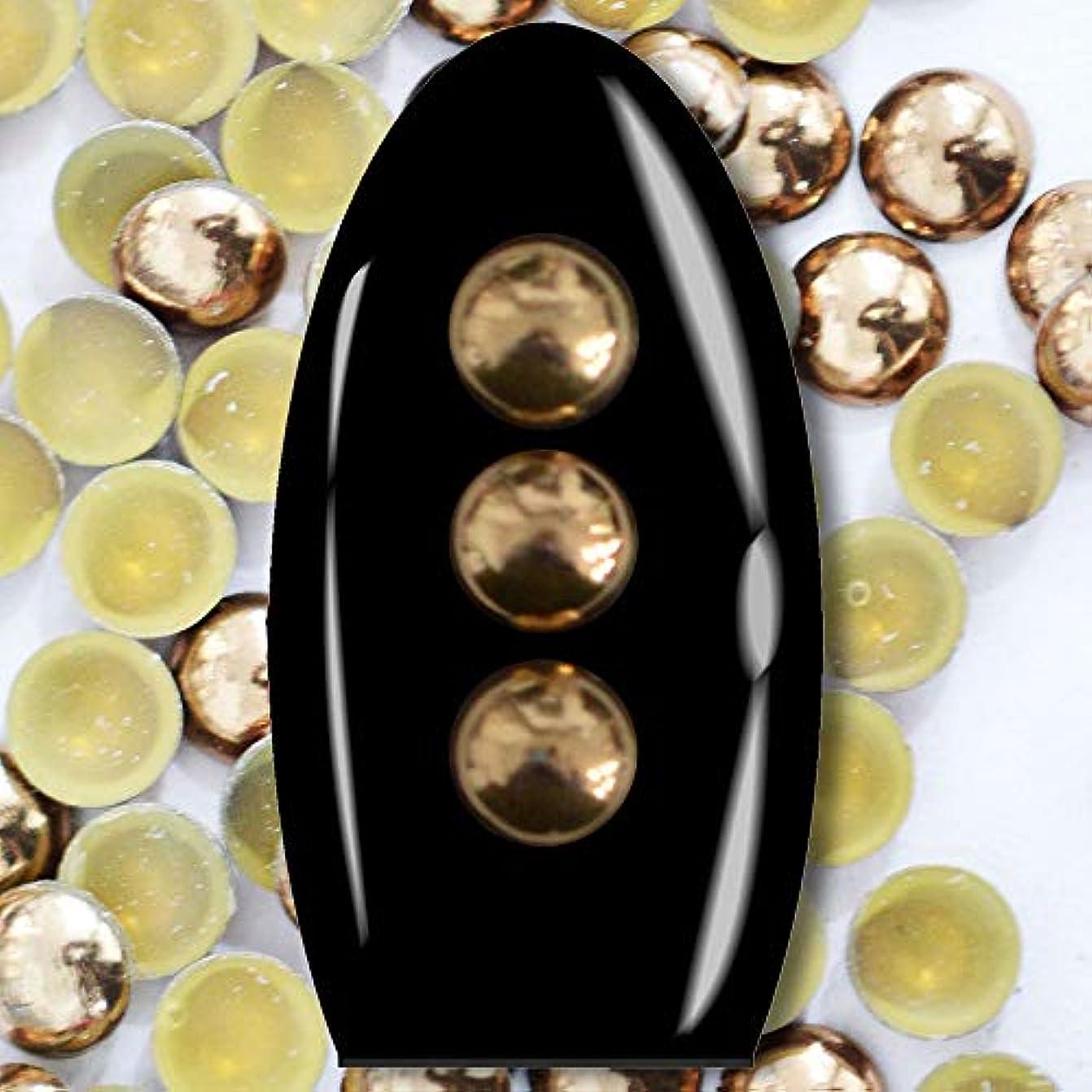 インド近く天文学メタルスタッズ ネイル用 100粒 STZ027 ラウンド ブロンズド Φ3.5mm ぷっくり半球型