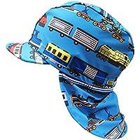 垂れ付 水泳帽 スイミングキャップ UVカット 子供用 キッズ 男の子 貨物車両 カーゴ - ブルー52~54cm