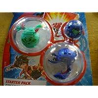 Bakugan Bakusteelスターターパック(グリーンMotra、ブルー、スピンドルブルーMysteryボール)