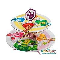RusToyShop Fixies Fixico スタンドラック カップケーキ (9.8インチ) 子供のパーティーテーブルセンターピース テーブルパーティー おやつ用品 誕生日 33 cm