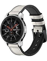 Samsung Galaxy Watch 42mm 46mmバンド Comtax 20mm 22mm 内側シリコン+外側レザー天然皮革 交換用バンド Samsung Galaxy Watch バンド (46mm, ホワイト)