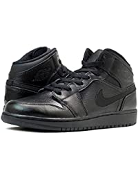 [ナイキ]NIKE AIR JORDAN 1 MID GS BLACK/BLACK 554725-030 [並行輸入品]