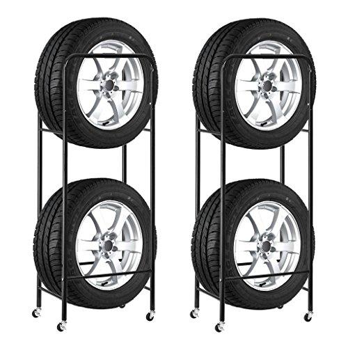 RoomClip商品情報 - Finether タイヤラック タイヤスタンド スリムタイプ キャスター4個付き タイヤ収納 2個セット キャスター付き 耐荷重120kg 幅47.5×奥行30×高さ136cm ブラック