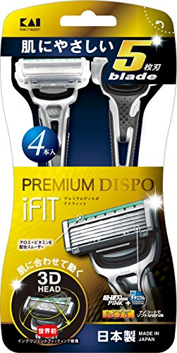 PREMIUM DISPO iFIT(プレミアム ディスポ アイフィット)5枚刃 使い捨てカミソリ 4本入