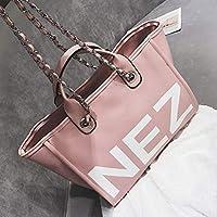 レディースバッグ新ファッションハンドバッグ大容量レターショルダーメッセンジャーバッグ4色(37 * 27 * 18センチメートル) (色 : Pink)