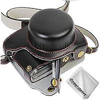 FIRST2SAVVV 黒 パナソニック Panasonic Lumix DC-GF9.GF7.GX850.GX800 (12-32mm Lens) 専用 PU 半分レザー レフ カメラバッグ カメラケース +クリーニングクロス XJD-GF9-HH01