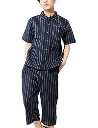 (ベストマート) BestMart M/L/XL/3L/4L/5L 涼しい しじら織り 袴付き 甚平 パジャマ 上下 セットアップ メンズ 622412