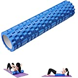 Yescom 62cm Yoga Roller Foam Grid Trigger Point Massage Pilates Physio Gym Exercise EVA PVC Blue