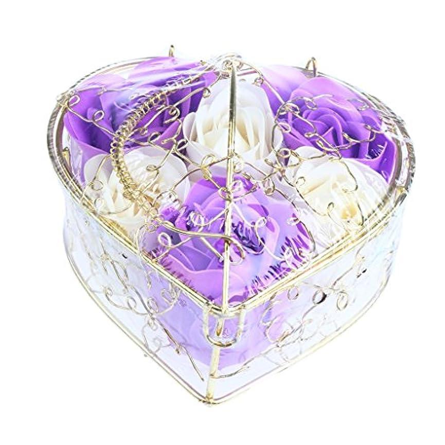 世界に死んだナット市長IPOTCH 6個 ソープフラワー 石鹸花 造花 バラ フラワー ギフトボックス 誕生日 母の日 記念日 先生の日 プレゼント 全5仕様選べる - 紫と白