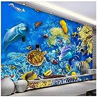 Mingld 水中世界3Dテレビソファ背景壁画カスタム大壁画緑の壁紙-200X140Cm