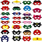 Solovey 30pcs Superhero Felt Masks for Kids Party Cosplay Superhero Masks with Elastic Rope Party Favors Mask for Birthday Gifts (Multicolor)