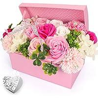 YOBANSA フレグランス シャボンフラワー 造花 枯れない 花 創意ジュエリーギフトボックス 誕生日 父の日 記念日 先生の日 バレンタインデー 昇進 転居など最適としてのプレゼント (ピンク)