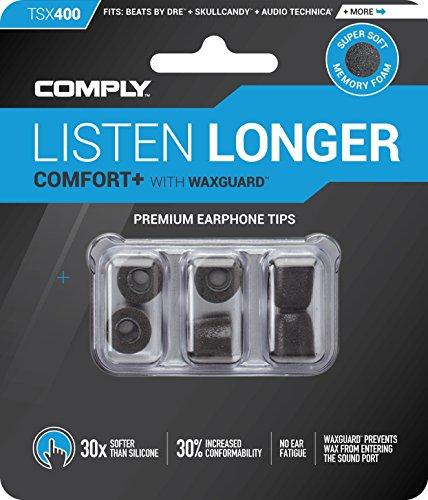 Comply(コンプライ) Tsx-400 ブラック SML各1ペア入り 3ペア アジアンフィット 耳垢ガード付き イヤホンチップス Comfort+ BeatsX, Audio-Technica ATH-CKS, Bose QuietComfort, J