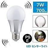 Luxon LED電球 センサーライト 口金E26 搭載レーダー探知機付 自動点灯 昼光色(7W)60w形相当