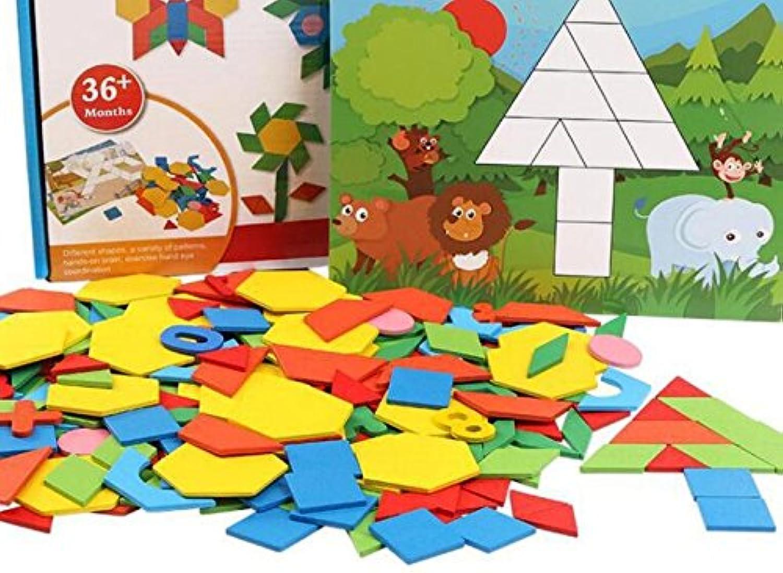 chusea興味深い木製ジグソーカラフルな木製教育パズル初期学習図形カラーおもちゃFantastic Gifts for Kids