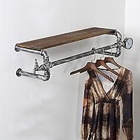 浮遊式棚 コートラックレトロ鉄配管プレート衣類ラックハンギングスタンド衣類ラックハンギングハンガー 工業用壁フレーム (サイズ さいず : 90cm)