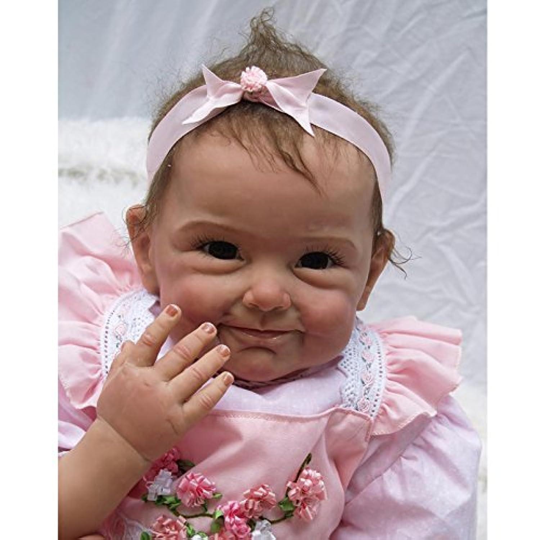 Rebornベビー人形reallooking Lifelikeソフトビニール新生児赤ちゃん22インチ55 cmブルーとブラウン目ランダム配送