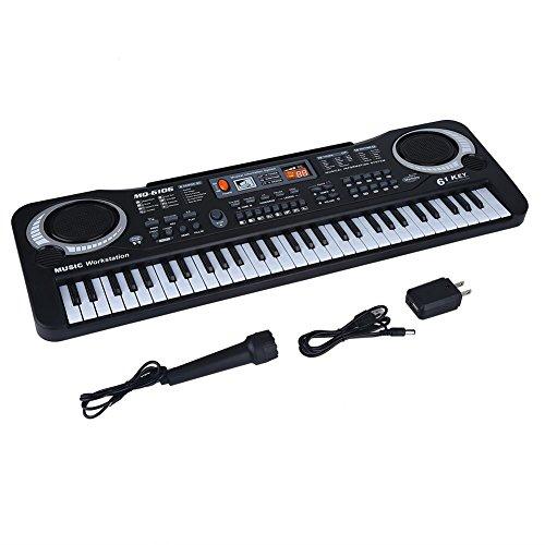 d947bd2240175 61キー 電子ピアノ 電子キーボード 楽器おもちゃ 6デモソング・16音色・10リズム