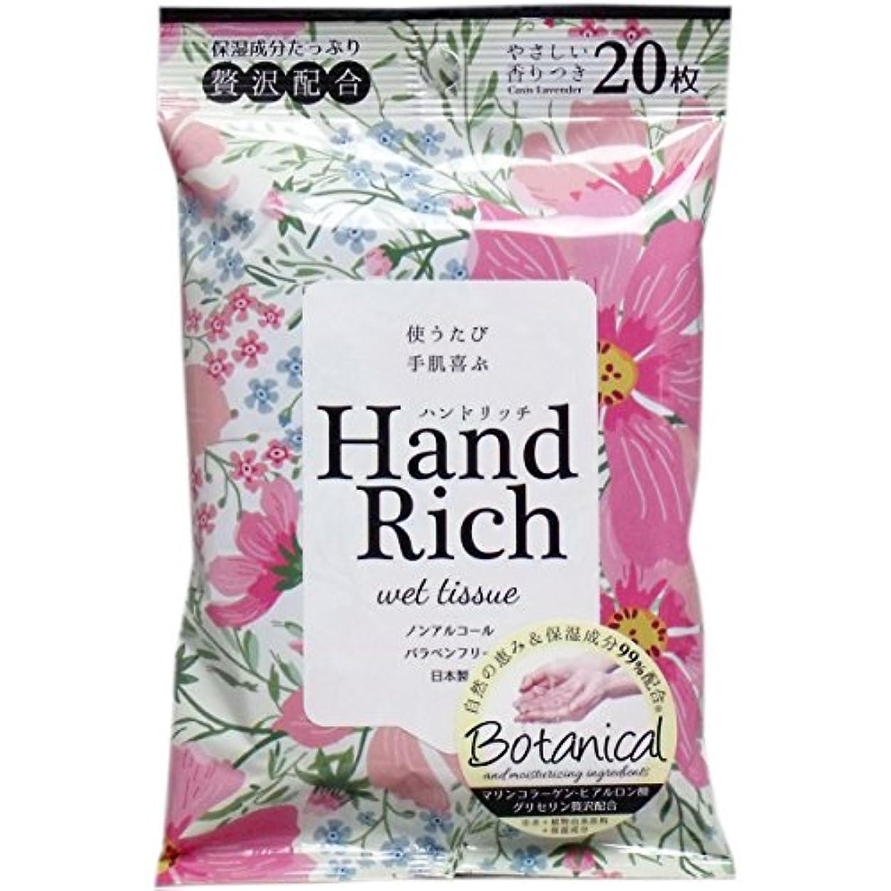 増強ではごきげんようビルハンドリッチ ウエットティシュー やさしい香り付 20枚入×20個セット