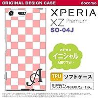 SO04J スマホケース Xperia XZ Premium ケース エクスペリア XZ プレミアム イニシャル スクエア 白×ピンク nk-so04j-tp765ini O