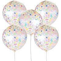 Jumbo Confetti Balloons  36インチ  5パッククリアラテックスballoons マルチカラーカラフルな紙吹雪 誕生日、結婚式、提案、ベビーシャワーパーティー装飾