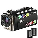 ビデオカメラ ACTITOP ポータブルビデオカメラ 2400万画素 HD1080P 16倍デジタルズーム ビデオカムコーダー 3インチ液晶ディスプレイ 270度回転スクリーン 二つバッテリー SDカード(最大32GB) 日本語システム