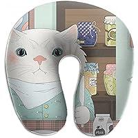 Merlin Quintina 猫 朝食 ミルクフォークナイフ皿 抱き枕 U字型クッション 首枕 ネッククッション 旅行ピロー360度快適な睡眠 子宮頸椎 保護 ポータブル