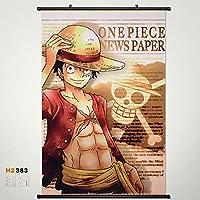 ホームデコレーションアニメOne Pieceルフィ壁スクロールポスターファブリックペイント60* 35.4inch 383