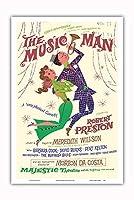 ミュージックマン - 出演:ロバート・プレストン - マジェスティックシアター、ブロードウェイ - ビンテージな劇場のポスター によって作成された デイヴィッド・クライン c.1957 - アートポスター - 31cm x 46cm