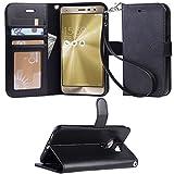 「Arae」ASUS Zen Fone3 ケース 手帳型 Zen Fone3 ケース スタンド機能 ZenFone3 ケース ストラップ付き ZenFone3ケース カード収納可能 ZE552KL ケース横開き Zen Fone3ケース マグネット内蔵 (ASUS Zen Fone3 ZE552KL, ブラック)