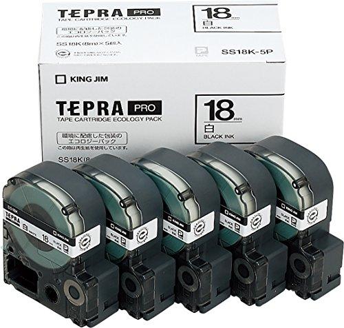 キングジム テプラ PROテープ 18mm エコロジーパック 白ラベル 黒文字 1箱 5個 SS18K-5P