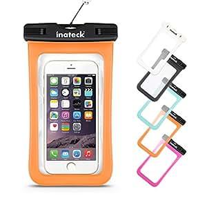 Inateck iPhone6/6Plus/Xperia/GALAXY Note4/S4も入る最大5.7インチまで対応の大きめサイズのスマートフォン用防水ケース ラップ付 防水保護等級 : IPx7 お風呂でも - オレンジ