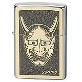 ZIPPO(ジッポー) ライター シルバー 能面 ゴールドプレート貼り 両面加工 グレー 2MPP-Noh mask GP