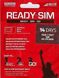 アメリカ Ready プリペイド SIM アクティベーションが簡単! (通話とSMS、データ通信1GB 14日間(ナノSIMサイズ))