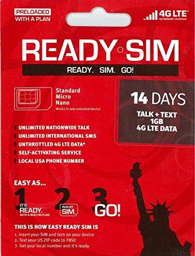 アメリカ Ready プリペイド SIM アクティベーションが簡単! (通話とSMS、データ通信1GB 14日間)